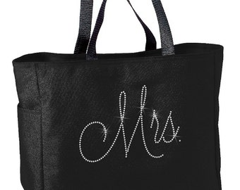 Rhinestone Mrs Bridal Tote Bag
