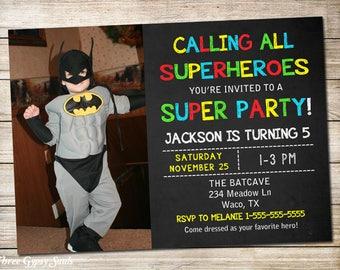 Superhero Invitation Superhero Birthday Invitation Superhero Party Superhero Invite Superhero Birthday Invite