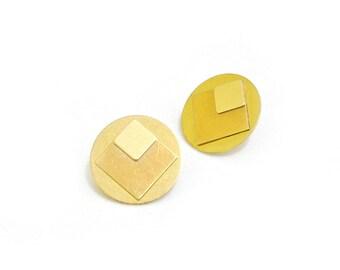 Geometric earrings from brass circle stud earrings-ARA