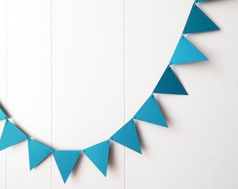 Teal Triangle Bunting / Flag Garland / Triangle Bunting / Adjustable Nursery Bunting / Photo Prop