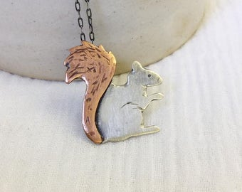 Squirrel Necklace, Sterling Silver, Copper