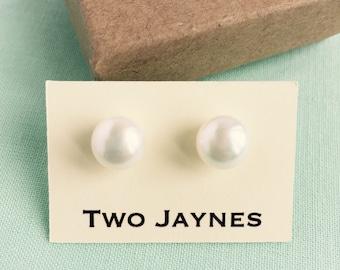 Pearl Stud Earrings - freshwater, sterling silver