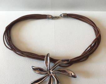Chunky Sterling Silver Brown Suede Necklace