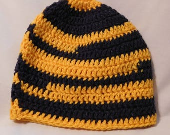 Basic Crocheted Hat University of Michigan Colors - CLEARANCE ITEM!!