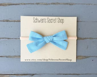 Baby blue bow, hand tied bow, fabric bow headband, baby girl headband, school girl bow, nylon headband, baby headband, baby hair bow