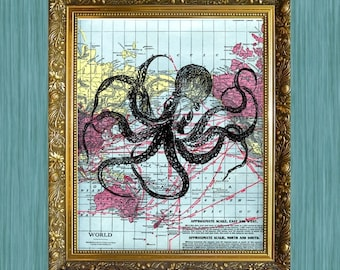 Octopus Print 8 x 10 Octopus on Map  Full Octopus Sea Life Art Print Seaside Art Print Sealife Art Print Natural History Print
