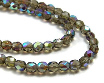 6mm faceted Czech Glass beads, Smoke Grey Aurora Borealis, Full & Half Strands Available  (368F)