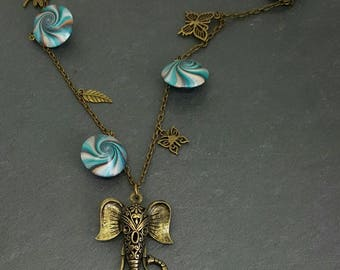 Necklace polymer clay beads swirl and bronze charms