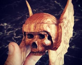 Handcarved Wood Thor Skull