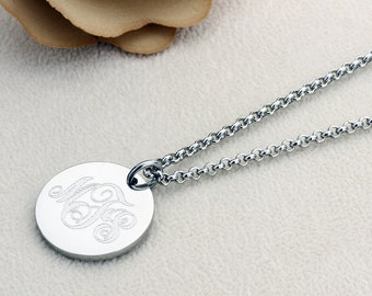 "Stainless Steel Personalized Three Letter Initial Monogram 21mm 7/8"" Round Disk Chain Necklace Monogram Coin Charm"
