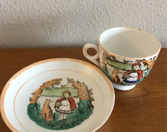 Antique Little Red Riding Hood Tea Cup and Saucer- R&C Lusterware Little Red Riding Hood and the Big Bad Wolf Cup and Saucer