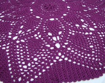 Pomegranate passion fruit circular crocheted lap blanket
