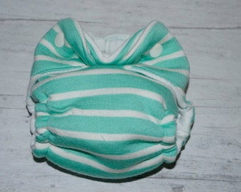 Newborn Fitted cloth diaper Ready to ship snugamint blue and cream stripes