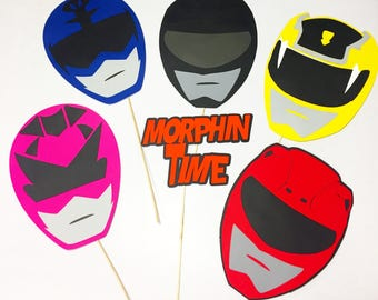 Power Ranger party props, photobooth props , props on a stick