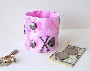 Hearts and cross bones -Secret Stash Money Wrist  Cuff