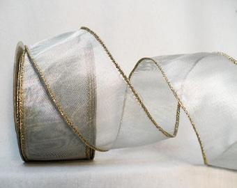 "Silver metallic ribbon, holiday ribbon, metallic silver gold wired edge 2"" x 10 yards"
