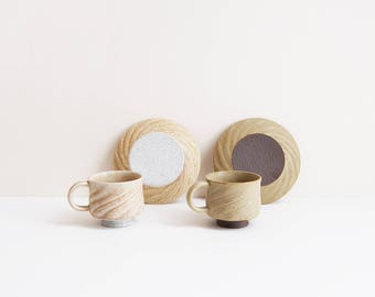 Japanese Whirlwind Tea Cup Set | handmade ceramic cup | twisted stoneware set