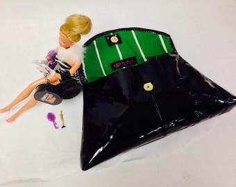 """1960's Inspired Black Patent Leather Clutch-""""The Barbie Bag""""- Ready to Ship"""