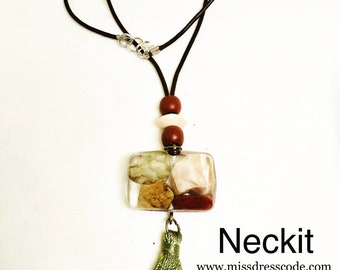 Rocks in Resin and Tassel Pendant Necklace
