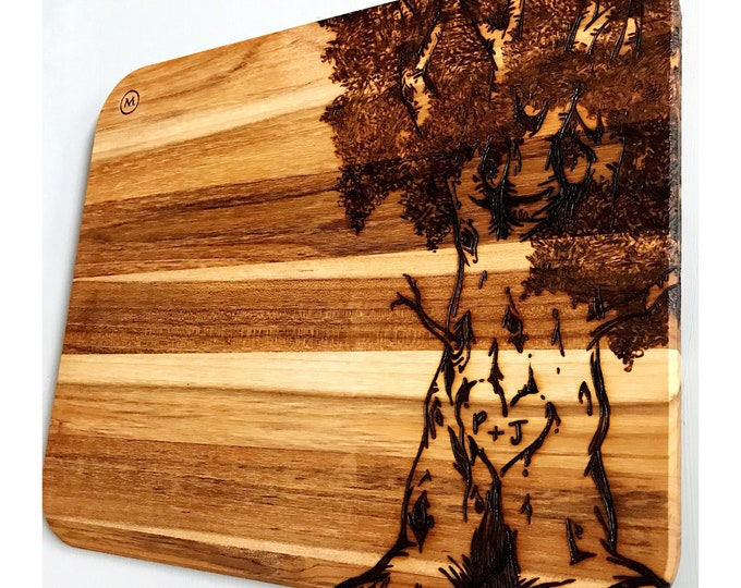 Custom Burned Tree on Team Cutting Board. Personalize me now!