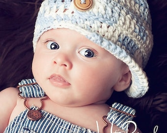 Crochet PATTERN - Crochet Hat Pattern - Crochet Newsboy Hat Pattern -  Baby, Toddler, Kids, Adult Sizes - Photo Prop Pattern - PDF 197