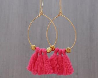 Tassel Hoop Earrings - Coral Tassel Earrings - Turquoise Tassel Earrings - Fringe Earrings - White Tassel Earrings - Gold Hoop Earrings,