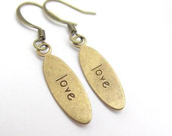 LOVE Earrings, Valentine Earrings, Gift for Her, Charm Earrings,  Dainty Earrings, Bridesmaid Gift, Bridal Jewelry, Inspiration Jewelry