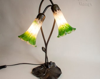 Vintage Bronzed Lily Pad Table Lamp with Two Dipped Green Lily Shades in Full Working Order - PAT tested