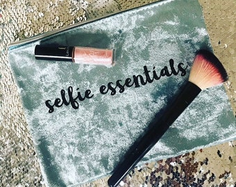 Selfie Essentials, Make Up Case, Make Up Bag, Cosmetics Case, Selfie Time, Crushed Velvet, Mint, Sky Blue, Magenta