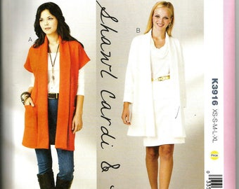 Kwik Sew 3916 new and uncut size X small to X large womand cardigan or short coat