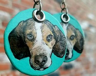 Hand-painted Beagle Teal Disc Dog Earrings