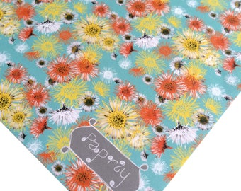 Floral Wrapping Paper Daisy A Day Blue Flowers
