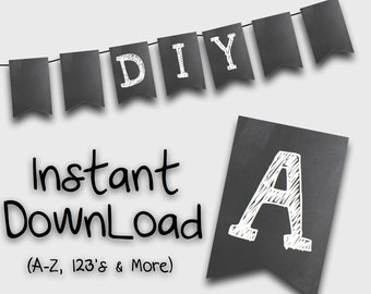 Printable Chalkboard Bunting Flags-  White Chalk on blackboard -D.I.Y Print at home flags