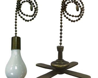 Royal Designs Fan Pull Chain – Fan and Light Bulb – Antique Brass – Set of 2