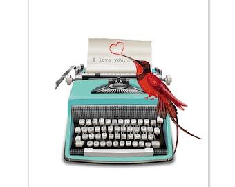 "I love you -  ART Print 8"" x 10""   VintageTypewriter, words, pop art, posters with typewriters, anniversary,Valentines day"