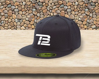 TB12 TOM BRADY Premium 210 Fitted Flat Brim cap high quality new england patriots Stiched    XLL Size Hat Fitted Navy Blue And Black only