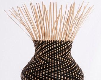 Hand woven basket, Natural And black Oval Cat Head Basket, Zig Zag pattern, woven basket, fiber art, soft sculpture