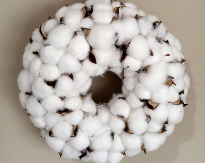 Featured listing image: Cotton Boll Wreath with Ribbon Hanger