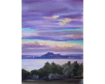 Purple Forth in Pastels (June 2015) original pastel drawing landscape seascape