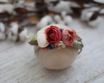 Newborn floral halo, Newborn photography prop, Handmade crown, Floral crown, Flower crown, Silk flowers, Photo prop, Newborn photo prop