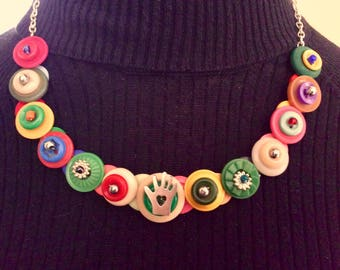 Hand and Heart Button Necklace