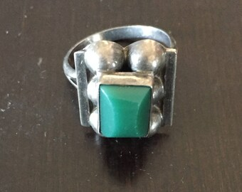 Turquoise Stone & Sterling Silver Statement Ring - Size 7 - Circa 1960s (Made in Mexico)