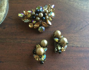 Regency Jewels Vintage Faux Pearl, Crystal and Aurora Borealis, AB  Demi-Parure Brooch and Earring Suite