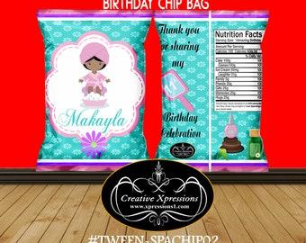 Spa Birthday Chip Bag | Spa Treat Bag | Tween Birthday | Spa Treatment Birthday Chip Bag | Party Favor