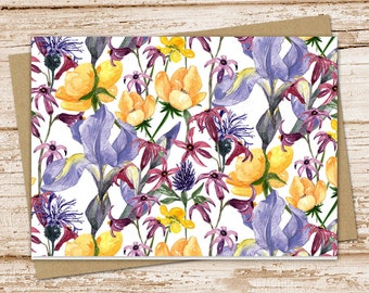purple & yellow flowers note card set . floral notecards .  blank cards . folded stationery . stationary . set of 6