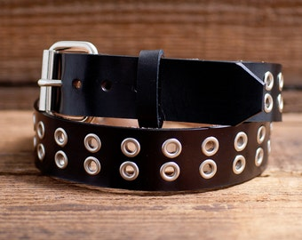 Leather eyelet Belt, Full Grain Leather Belt, Black Leather Belt,