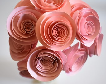 Blush Wedding Decor, Blush Pink Paper Flower Bouquet, Beach Theme Wedding, Stemmed Paper Roses