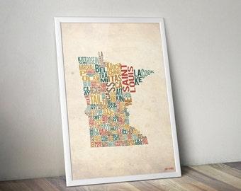 Minnesota by County - Typography Print