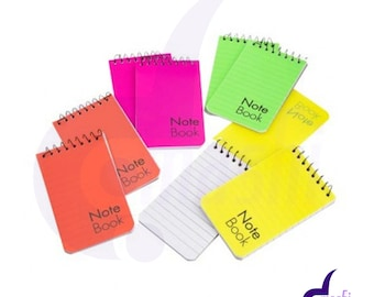 8 MINI NOTE PADS Spiral Bound A7 Note Book Notebooks Neon colored Plastic Cover