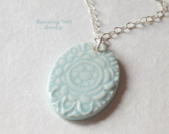 Pale Blue Ceramic Pendant, Floral Design, Sterling Silver Chain, Simple but Elegant Mother's Day Gift